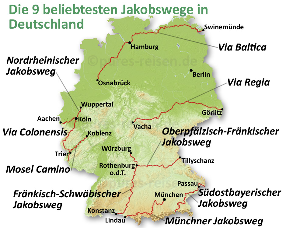 Karte der 9 beliebtesten Jakobswege in Deutschland