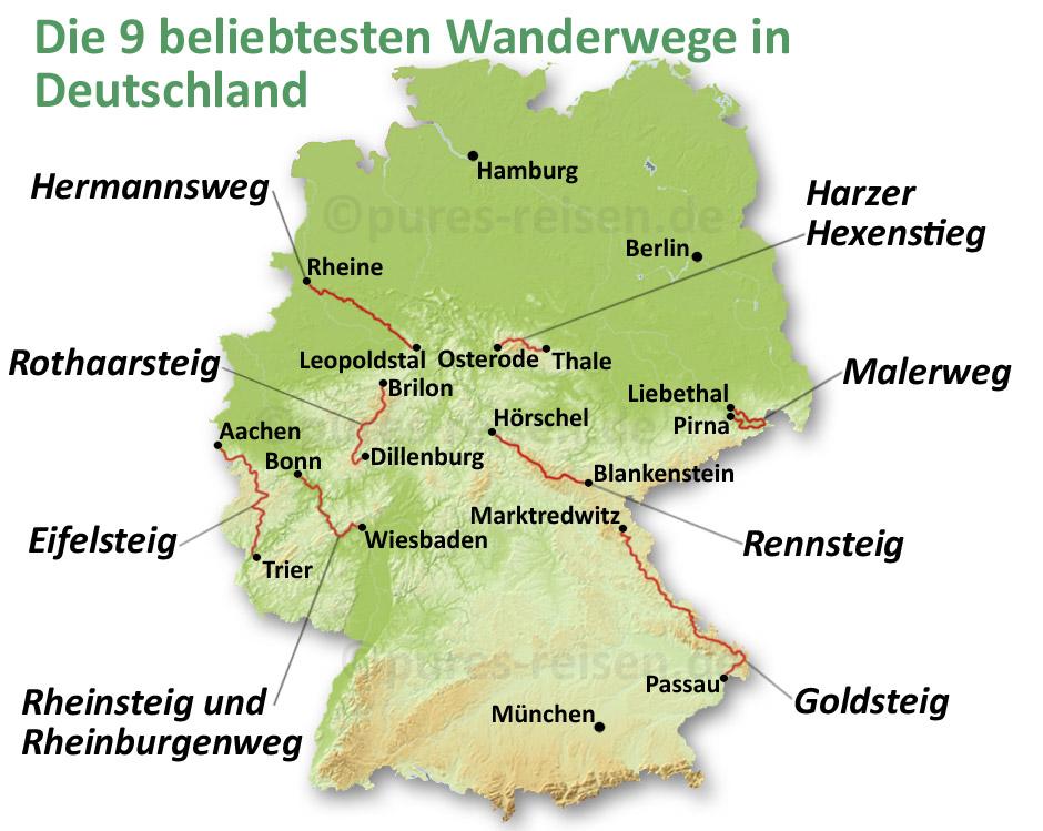 Karte der 9 beliebtesten Wanderwege in Deutschland