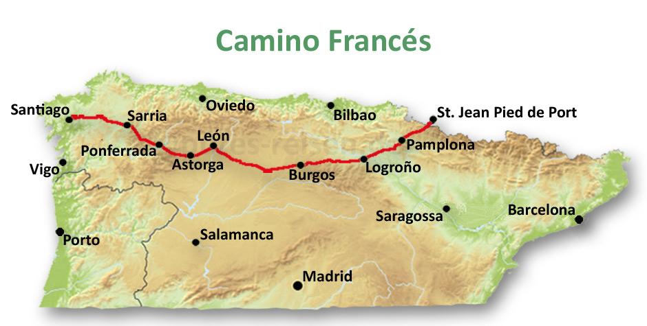 Karte vom Jakobsweg Camino Frances