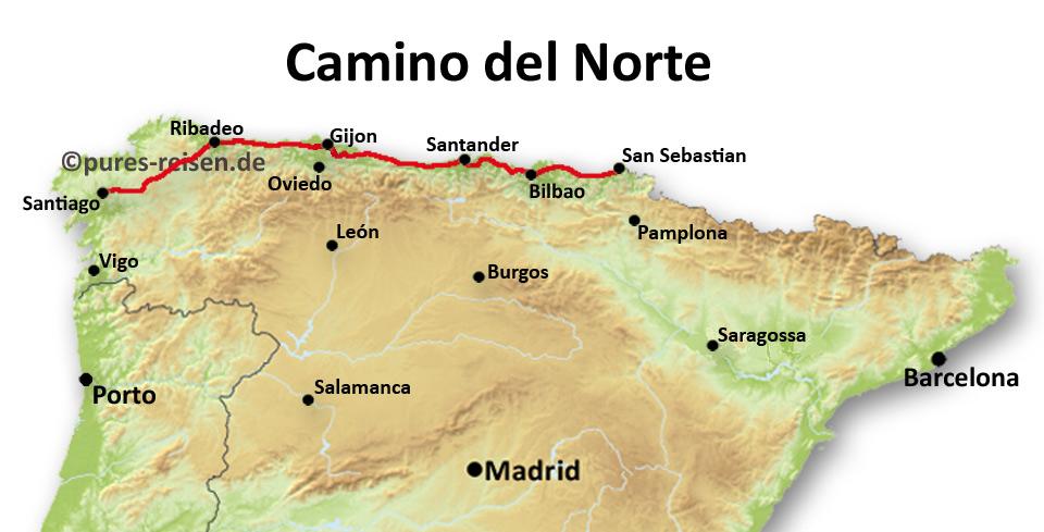 Karte vom Jakobsweg Kuestenweg Camino del Norte
