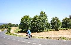 Mit dem Fahrrad bergab auf dem Jakobsweg